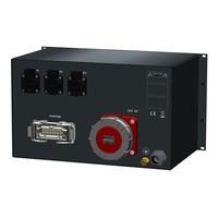 SRS Power* Rackmontage stroomverdeler 63A   1x Harting 16p   3x Schuko   digitale meter   Main MCB   2x MCB   3x RCBO   6U