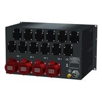 SRS Power* Rackmontage stroomverdeler 63A   4x 32A 5p   12x Schuko   Digitale meter   Main MCB   24x MCB   1x RCD   6U