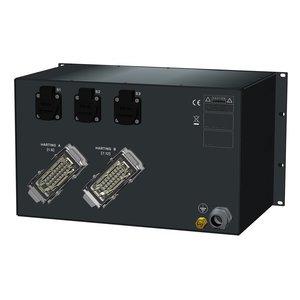 SRS Power* Rackmontage stroomverdeler 63A | 2x Harting 16p | 3x Schuko | Main MCB | 13x MCB | 1x Digitale RCD | 6U