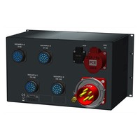 SRS Power* Rackmontage stroomverdeler 63A | 1x 32A 5p | 4x Socapex 19p | 1x Schuko | Main MCB | 25x RCBO | 6U