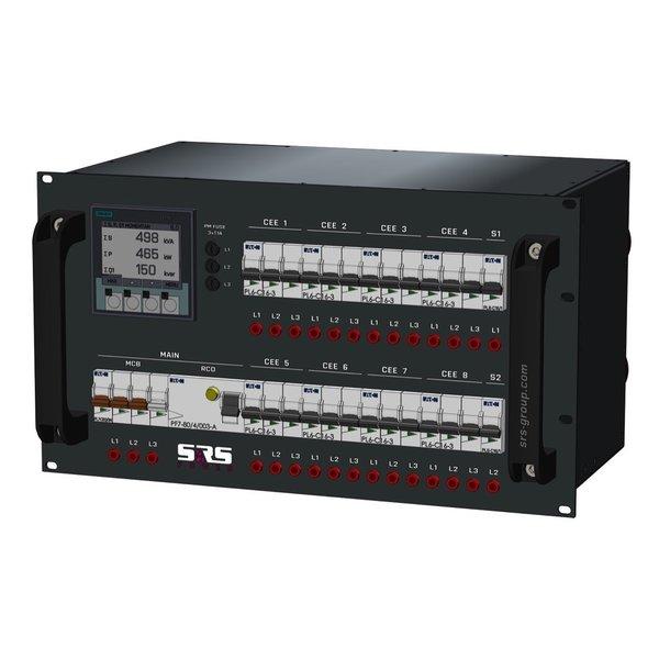 SRS Power* Rackmontage stroomverdeler 63A | 8x 16A 5p  | 2x Schuko | Digitale meter | Main MCB RCD | 10x MCB | 6U