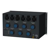 SRS Power* Rackmontage stroomverdeler 63A   7x Socapex 19p   6x Schuko   Digitale meter   Main MCB   24x RCBO   6U