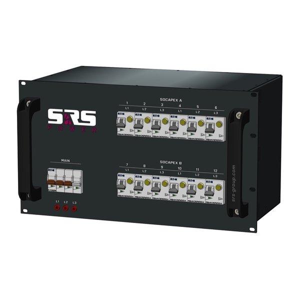 SRS Power* Rackmontage stroomverdeler 63A | 2x Socapex 19p | 12x Schuko | Main MCB | 12x RCBO | 6U