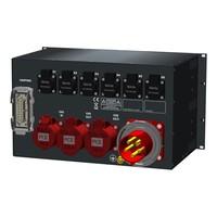SRS Power* Rackmontage stroomverdeler 63A   2x 32A 5p   1x 16A 5p   1x Harting 16p   3x Schuko   Main MCB   Digitale RCD   3x MCB   12x RCBO   6U