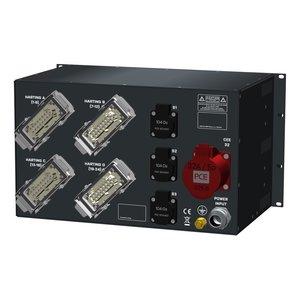 SRS Power* Rackmontage stroomverdeler 63A | 1x 32A 5p | 4x Harting 16p | 3x Schuko | Digitale meter | Main MCB | 1x MCB | 27x RCBO | 6U