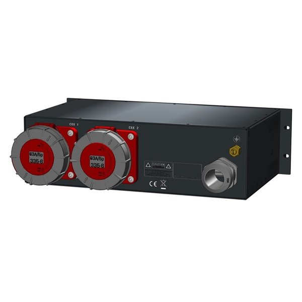 SRS Power* Rackmontage stroomverdeler 125A | 2x 63A 5p | Digitale meter | Main MCB | 2x MCB | 3U