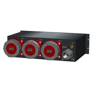SRS Power* Rackmontage stroomverdeler 125A | 3x 63A 5p | Digitale meter | Main MCB | 3x MCB | 3U