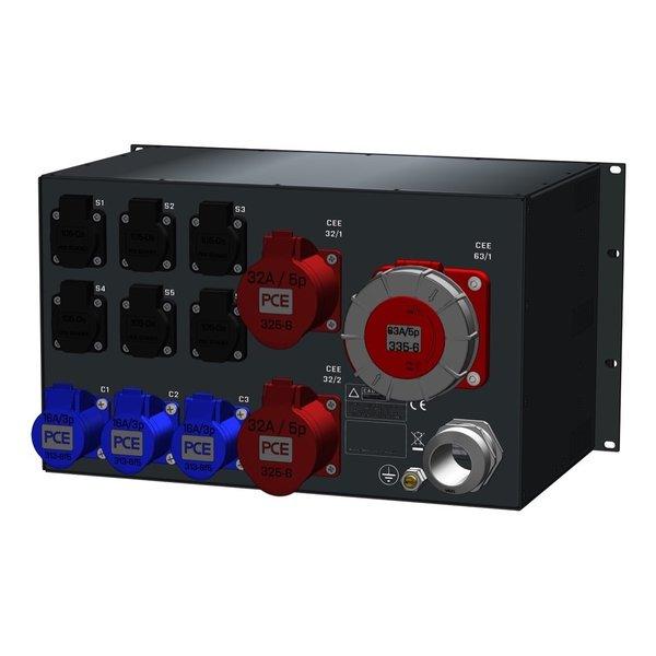 SRS Power* Rackmontage stroomverdeler 125A | 1x 63A 5p | 2x 32A 5p | 3x 16A 3p | 6x Schuko | Main switch | 12x MCB | 3x Digitale RCD | 1x RCD | 6U
