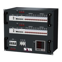 SRS Power* Rackmontage stroomverdeler 125A | 4x Harting 16p | 3x Schuko | Digitale meter | Main switch | Instelbare RCD | 24x MCB | 3x RCBO | 9U