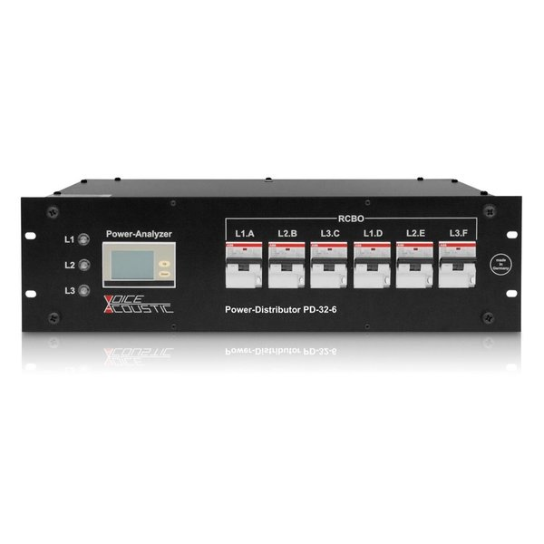Voice-Acoustic* Rackmontage stroomverdeler 32A |  1x 32A | 6x powerCON of 6x powerCON TRUE 1 of 1x Harting 16p | Schuko | Digitale multi meter | 6x RCBO
