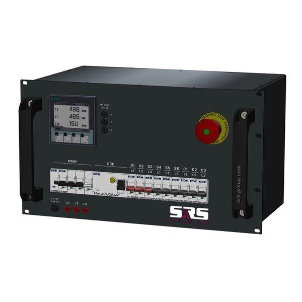 SRS Power* Rackmontage stroomverdeler 32A   3x 32A 3p   6x Schuko   Noodstop   Digitale meter   Main MCB   9x MCB + RCD   6U