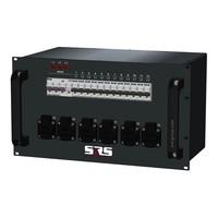 SRS Power* Rackmontage stroomverdeler 32A | 12x Schuko (2x) | Main RCBO | 12x MCB | 6U