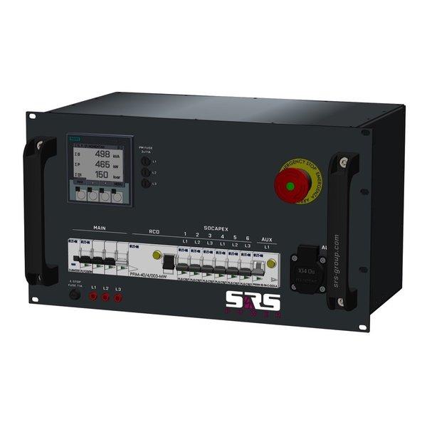 SRS Power* Rackmontage stroomverdeler 32A   1x Socapex 19p   7x Schuko   Noodstop   Digitale meter   Main MCB   1x RCBO   6x MCB   6U
