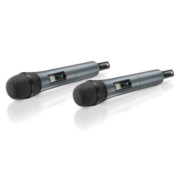 Sennheiser Draadloze handheld set   XSW 1-825 Dual-BC   2x Handheld, 2x  microfooncapsule, 2x microfoon klem en 1x twee kanaals ontvanger met antennes