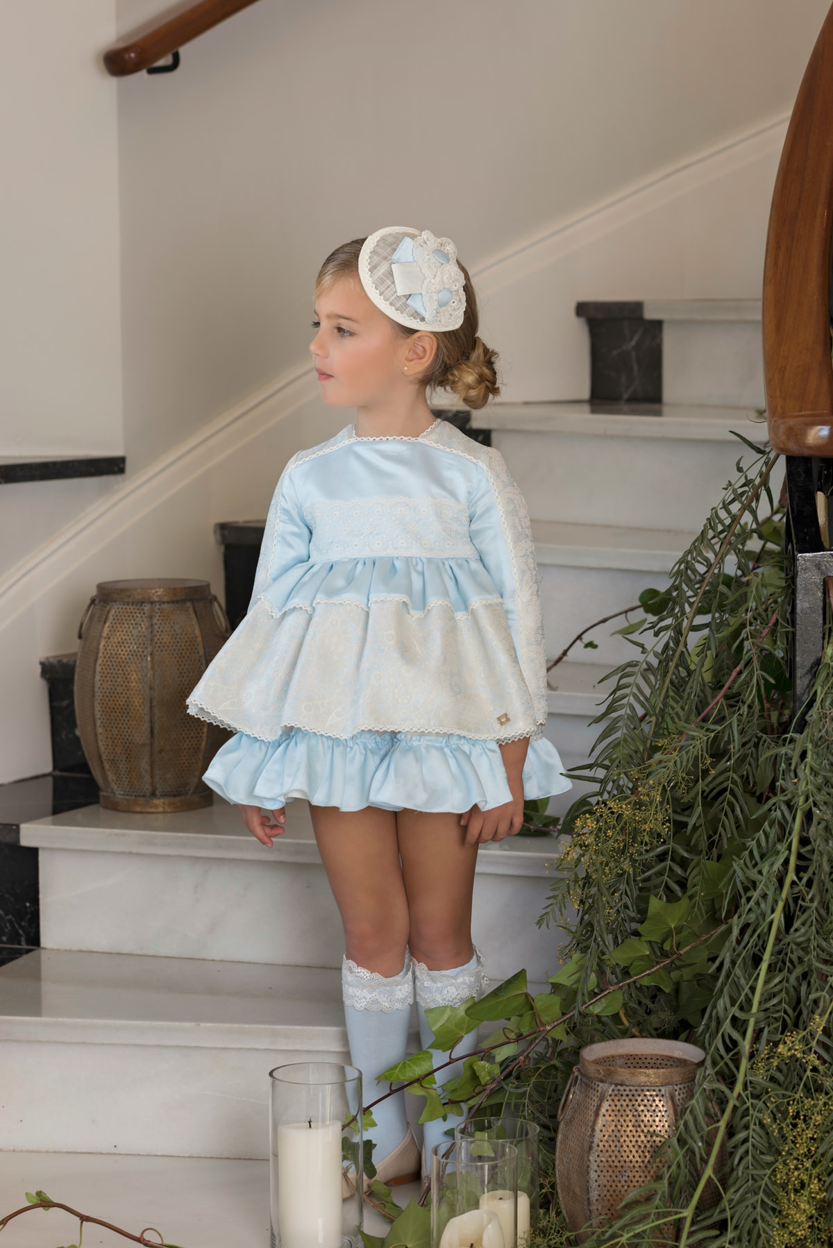 Dolce Petit Dolce Petit AW19 Girls Blue & Ivory Dress 2205/V