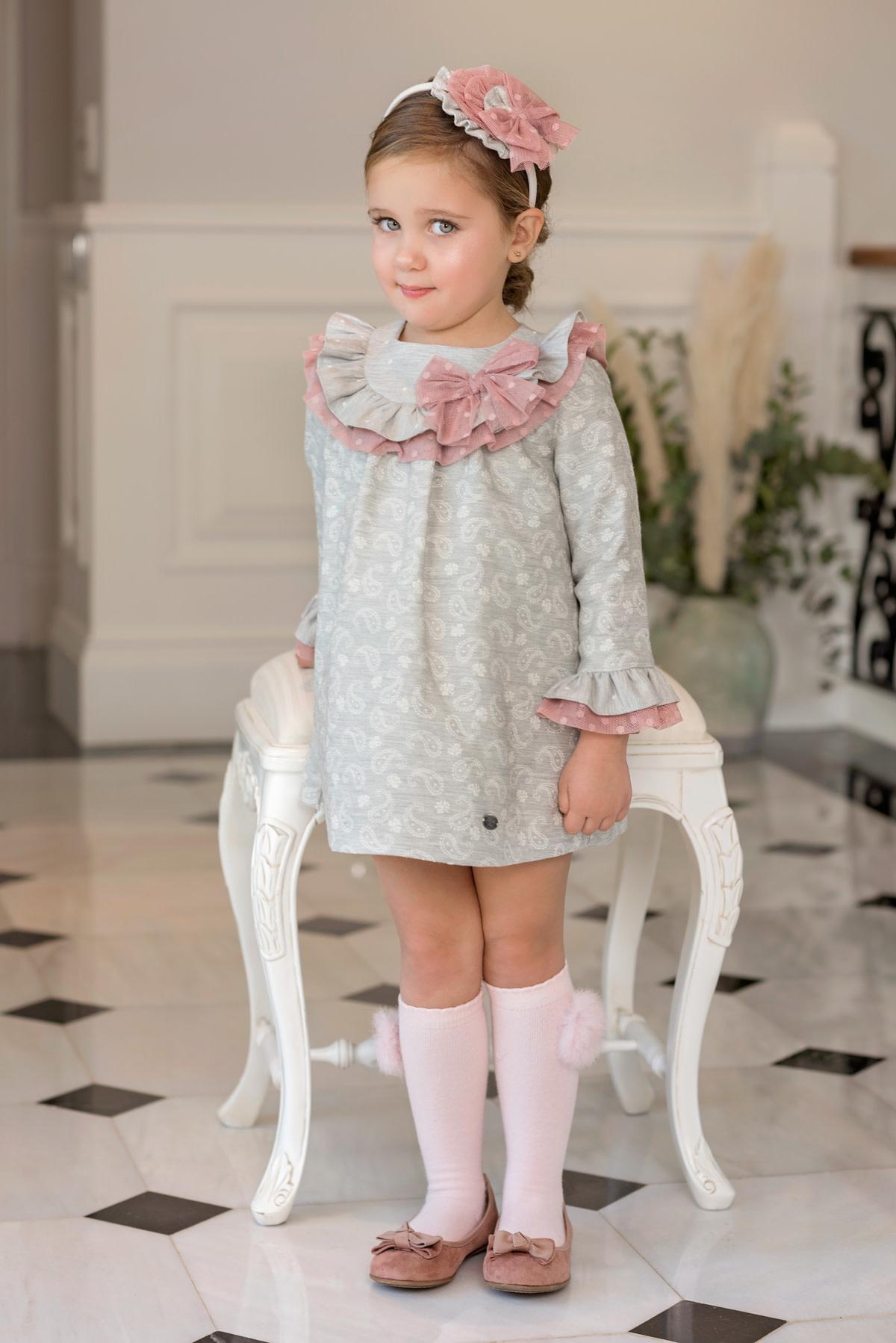 Dolce Petit Dolce Petit AW19 Girls Grey & Pink Dress 2205/V