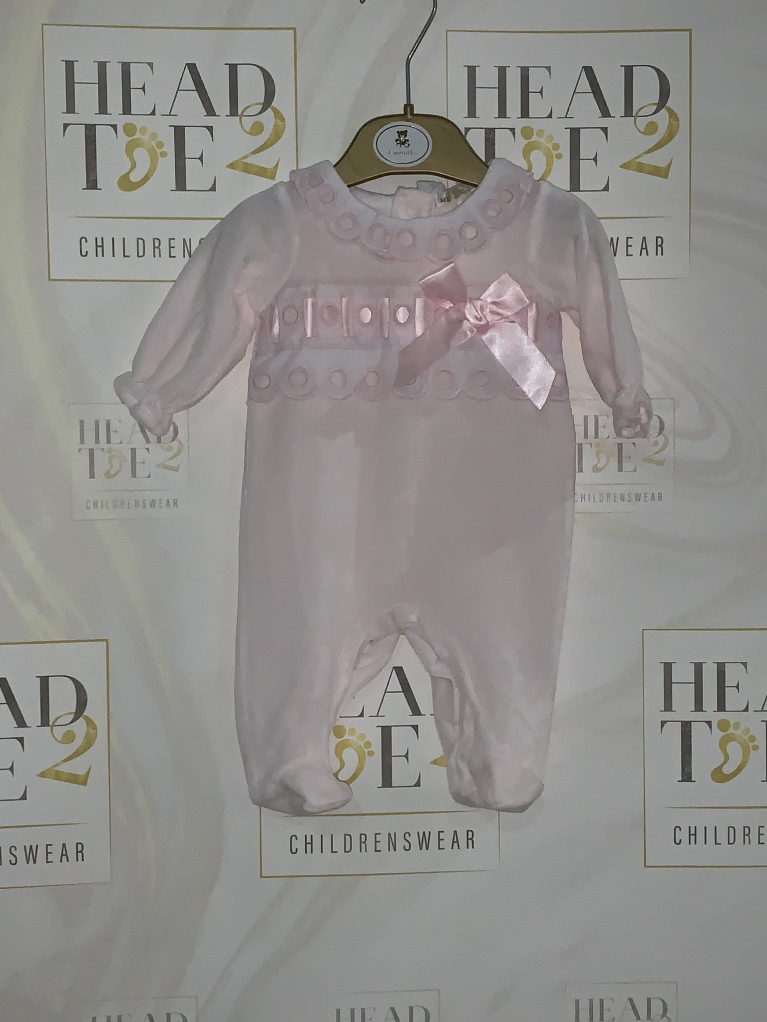 Mintini Baby Mintini Velour Pink Baby Grow With Bow 6 Month MB2061A