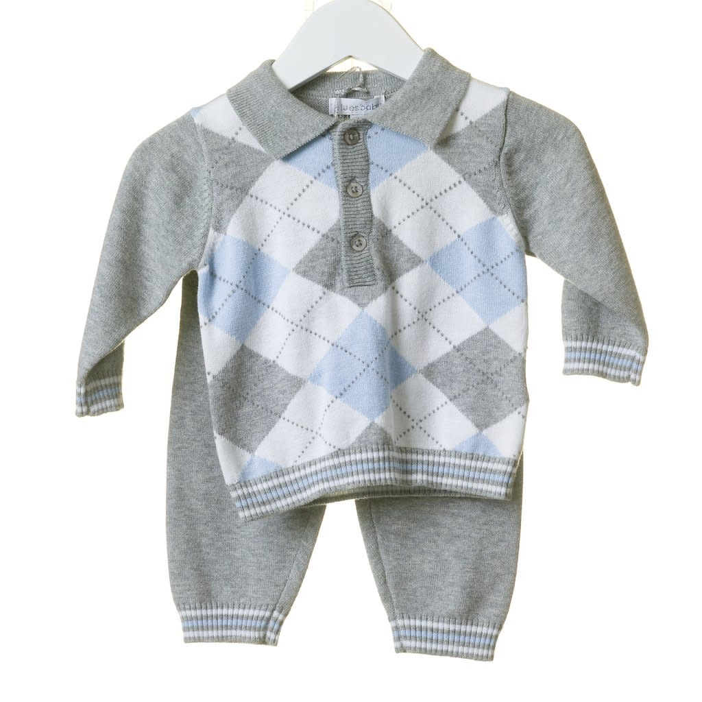 Blues Baby Blue Baby Boys Grey Intarsia Knit Set TT0101A