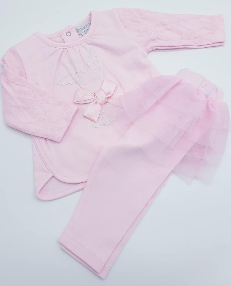 KRIS X KIDS KRIS X KIDS Girls Pink 2 piece Set With Bow And Lace Detail 18/24 Months 5063B