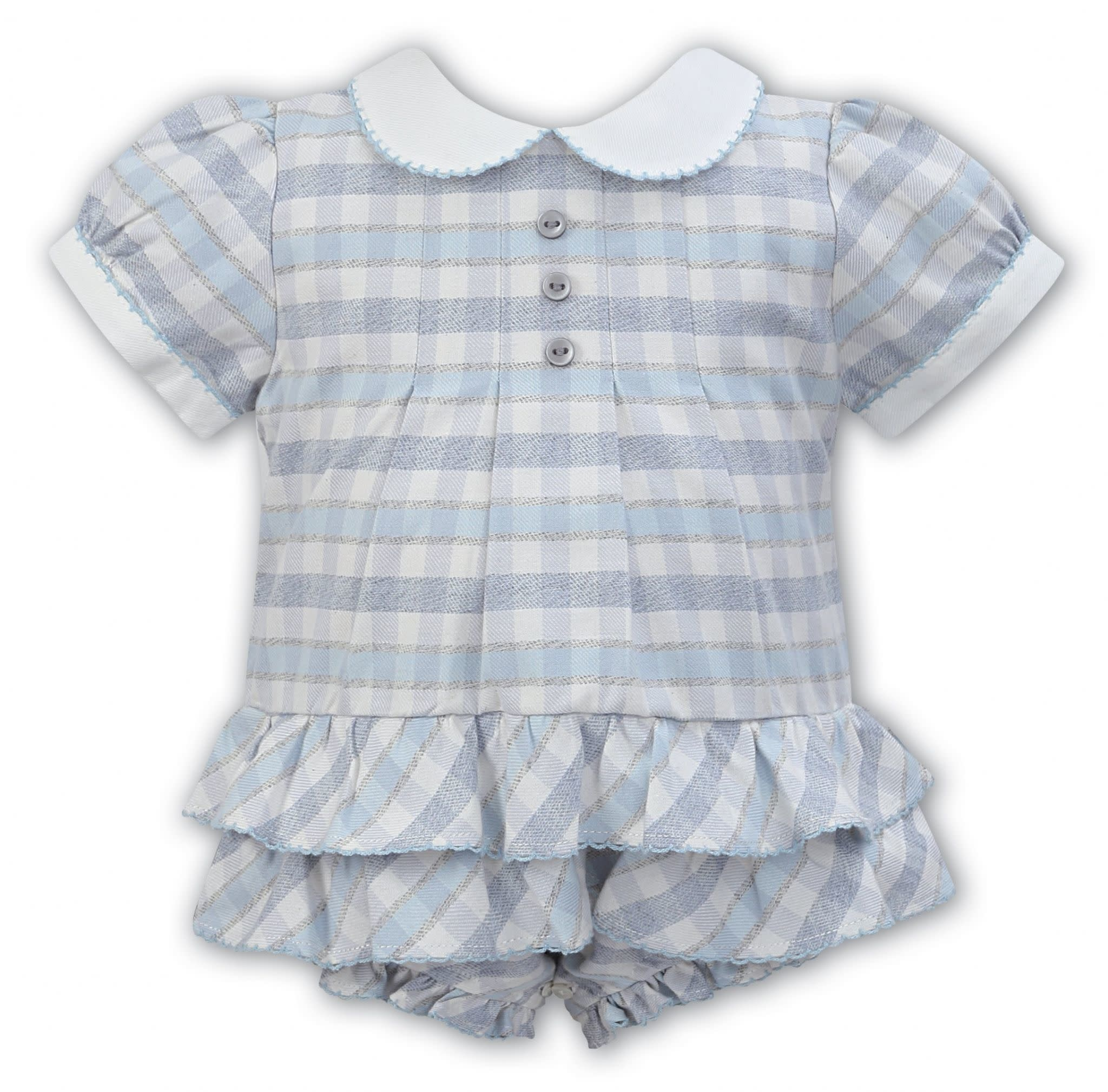Sarah Louise Sarah Louise NEW AW19 Bubble Romper Ivory and Blue check