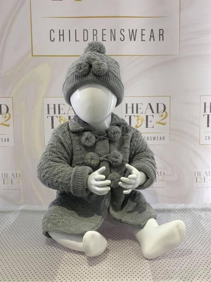 Little Nosh Little Nosh Baby Grey Chunky Knitted Long Cardigan & Hat 3732