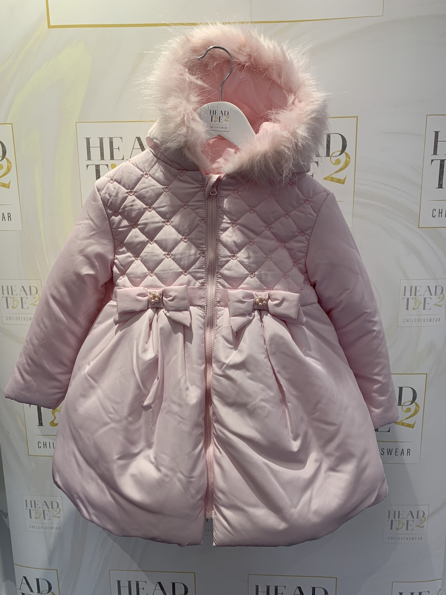 Mintini Baby Mintini Girls Pink Padded Jacket with Fur Trim Hood 4 Years