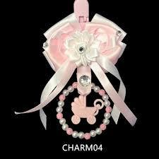 Wee Me Hand Crafted Pram Charm Pink and White Ribbon/Pram