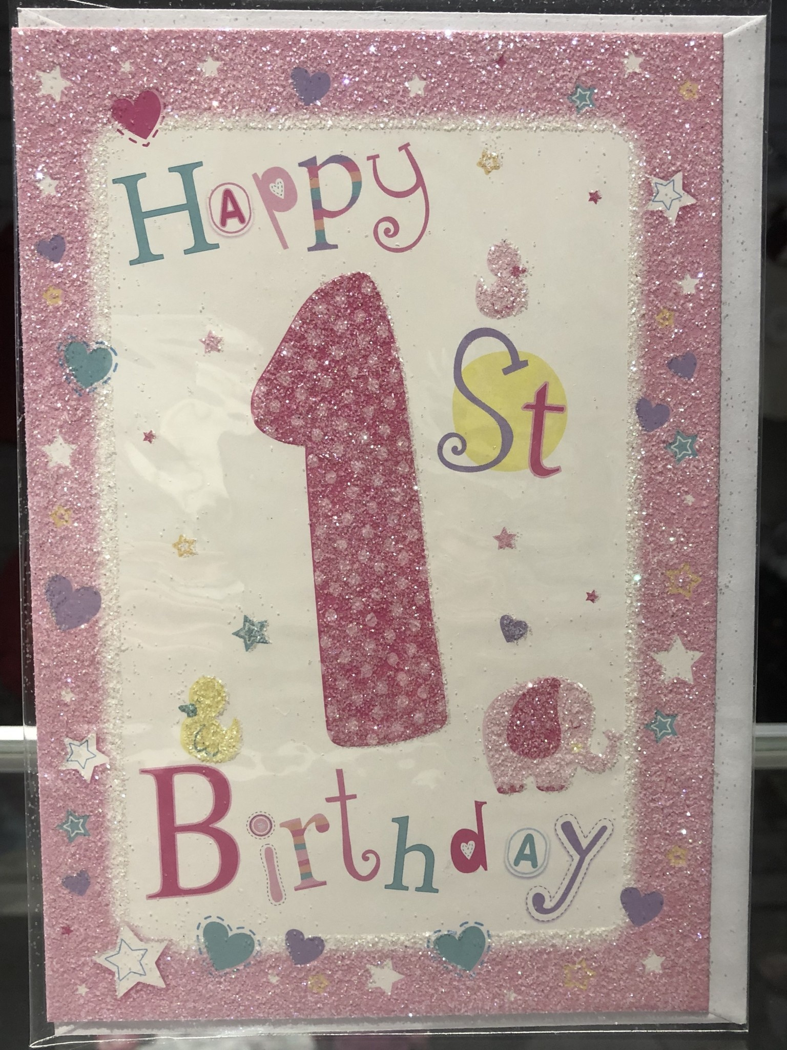 Girls Happy 1st Birthday Card