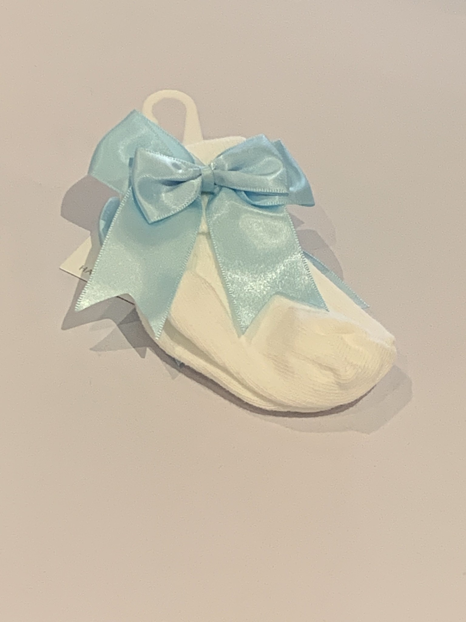 The Frilly Sock co White Turn Over Sock with Blue Bow detail Jinty