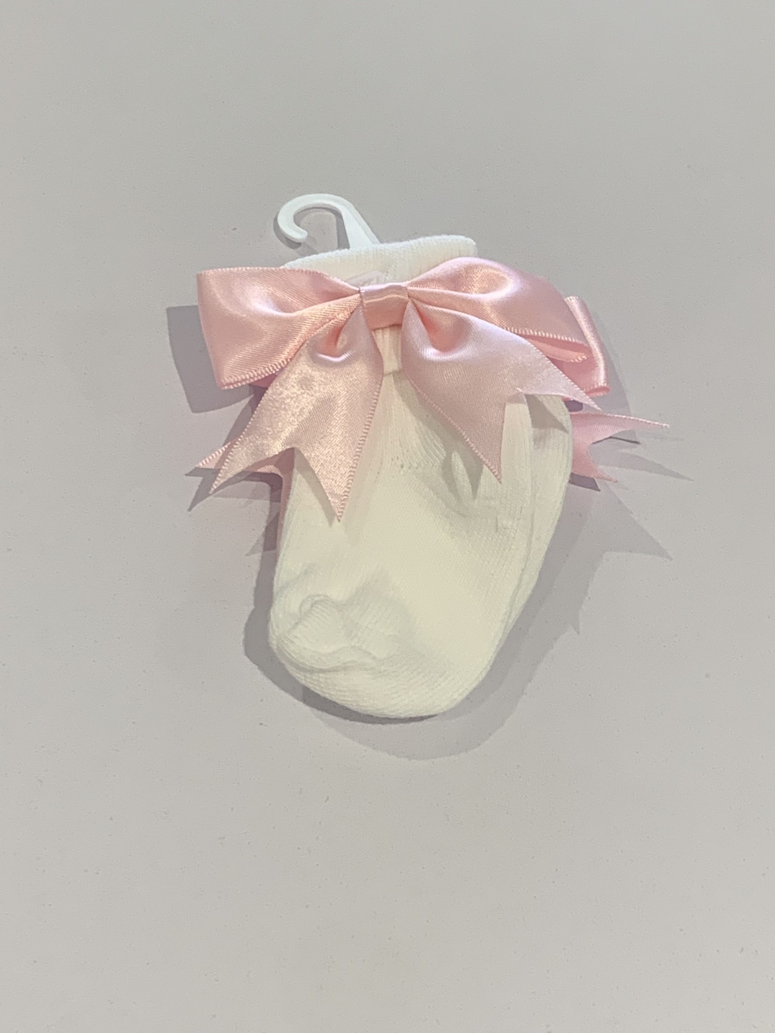 The Frilly Sock co White Turn Over Sock with Pink Bow detail Jinty