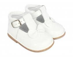 Fofito Fofito Girls White Patent Shoes With Bow T Bar Style 2975 - Adriana