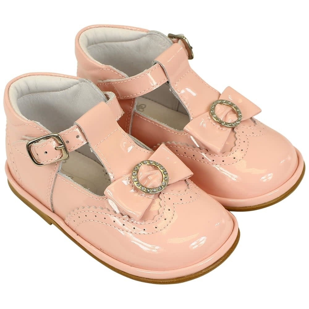 Borboleta Borboleta Girls Pink Patent Shoes With Bow T Bar Style 1155 - Alexandra