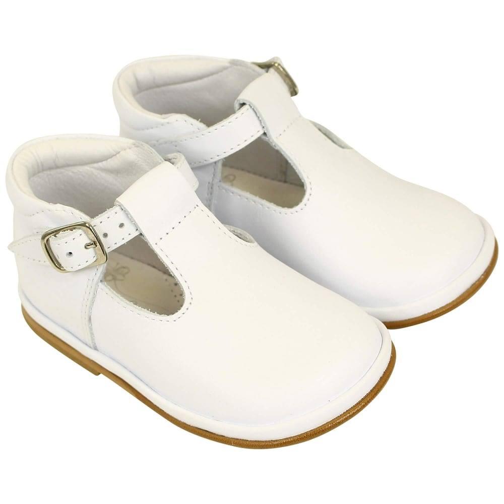Borboleta Borboleta Boys White Leather Shoes T Bar 2111 - Fernando