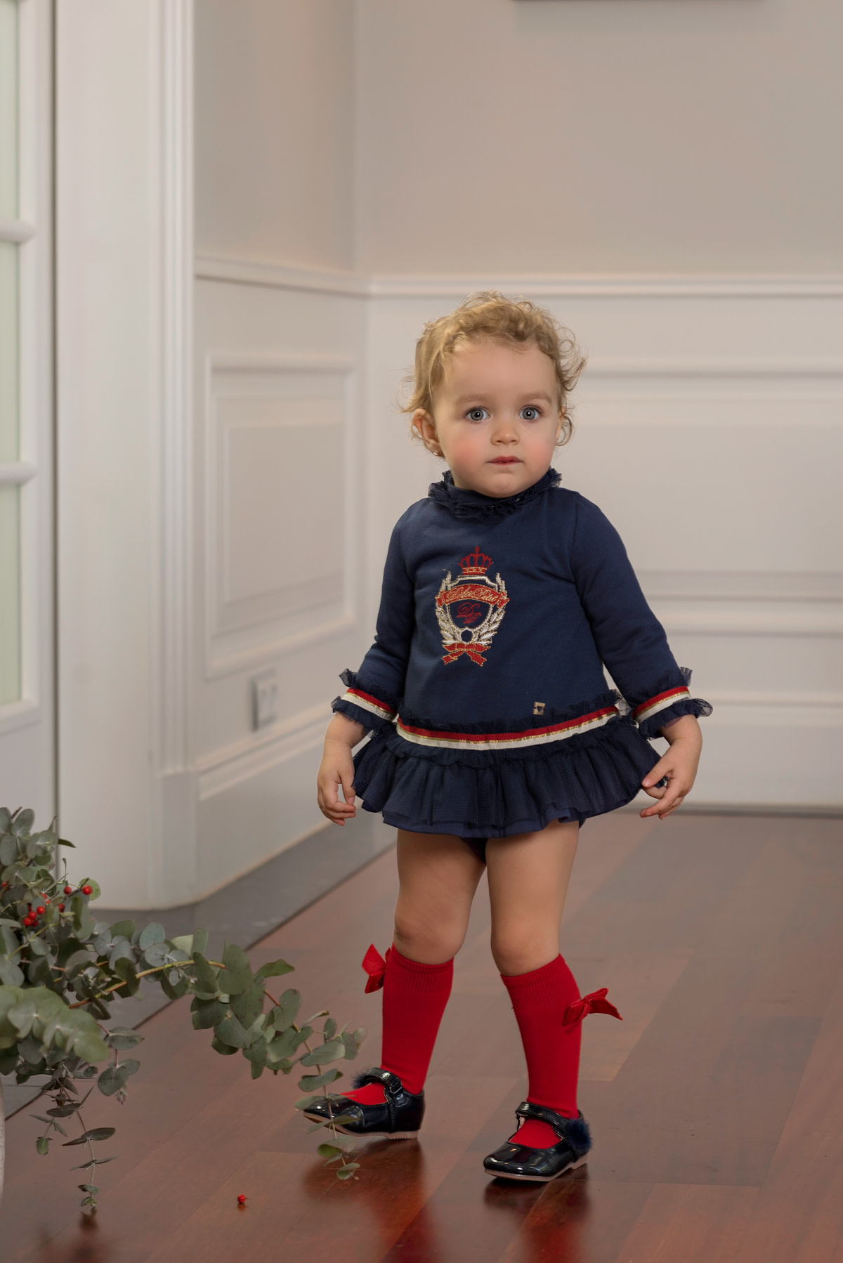 Dolce Petit Dolce Petit AW19 Girls Navy Dress with Red and Gold Trim  2112/VB 24 Months