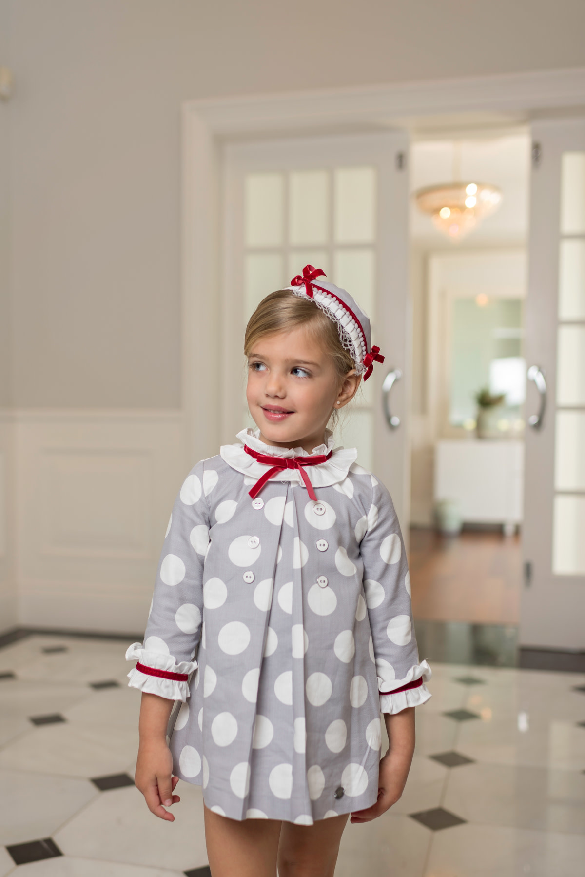 Dolce Petit Dolce Petit AW19 Grey and White Spot Dress with Red Trim Detail 2241/V