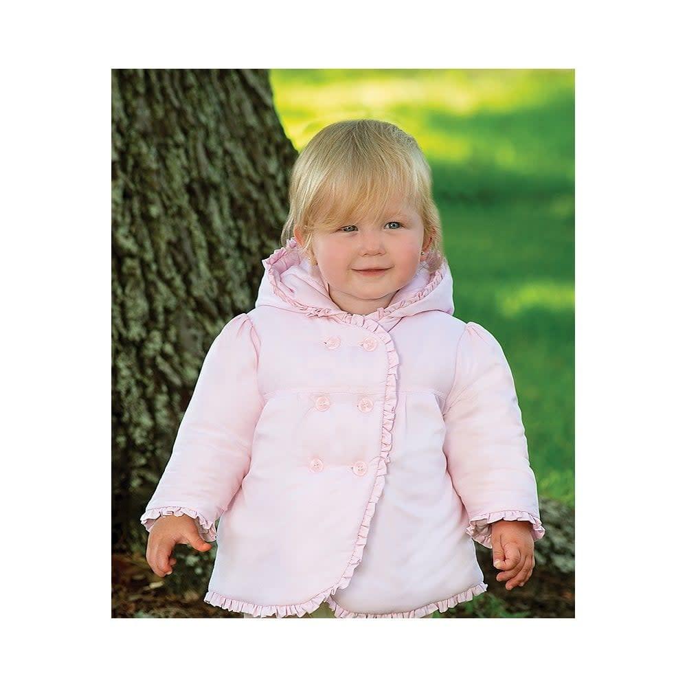Sarah Louise Dani AW19 Girls Padded Pink Ruffle Coat D09372