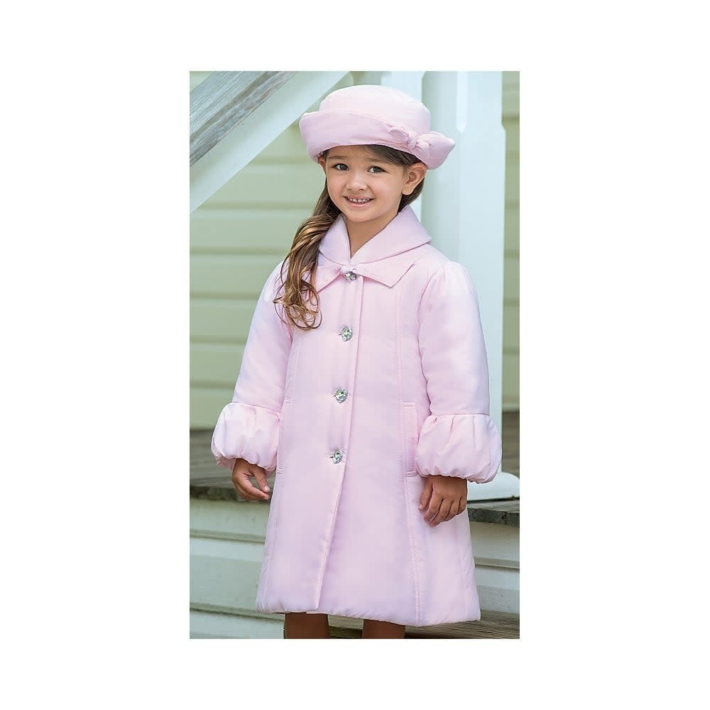 Sarah Louise Dani AW19 Girl Pink Long Padded Coat with Hat 3 Years  D09380