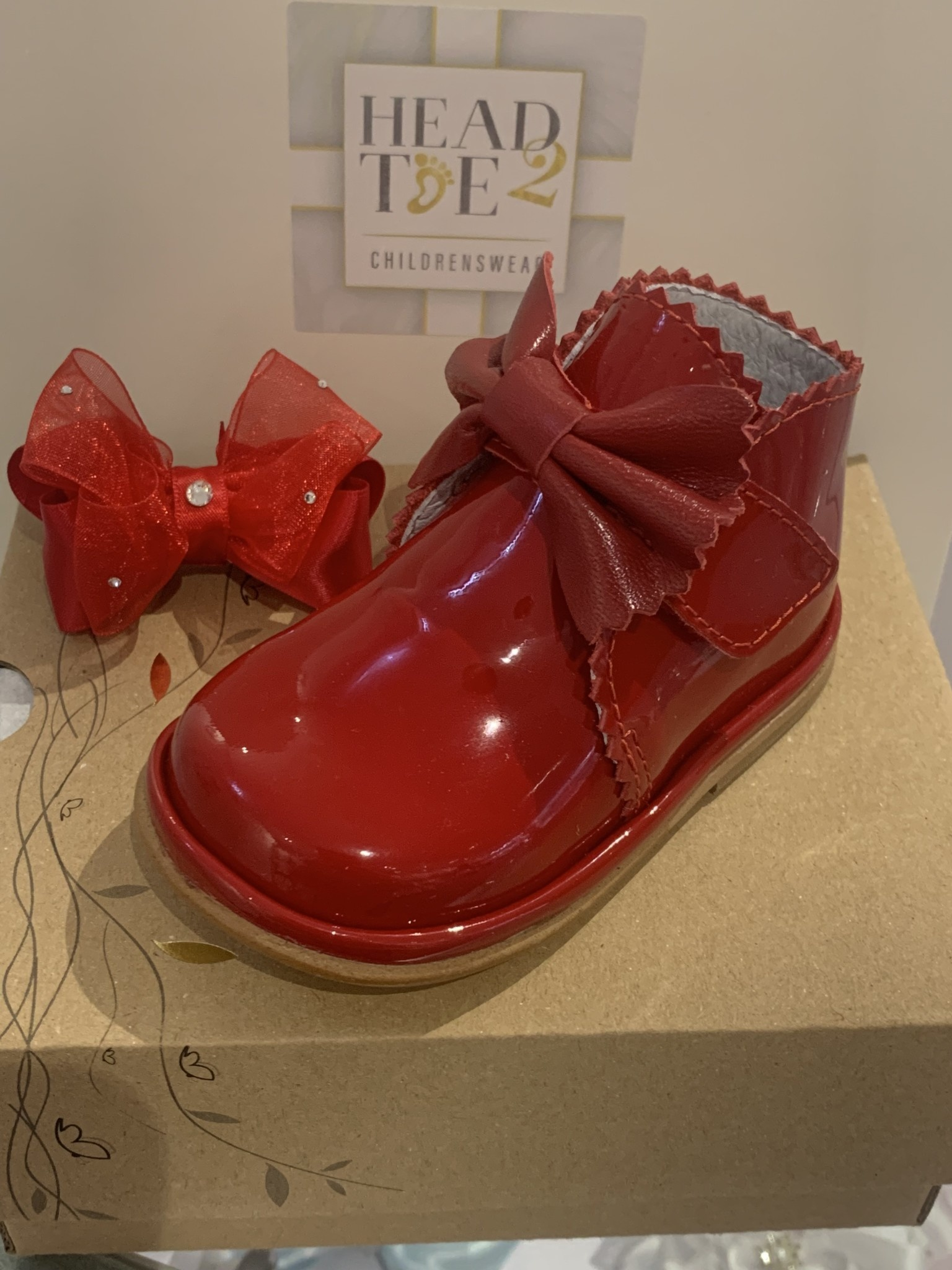 Borboleta Borboleta Girls Red Patent Boots With Bow Detail 1122 - Sharon 24 (uk 7)