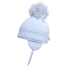 Satila Satila Blue knitted fur pom hat DAISY C71817