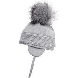 Satila Satila Grey knitted fur pom hat DAISY C71817