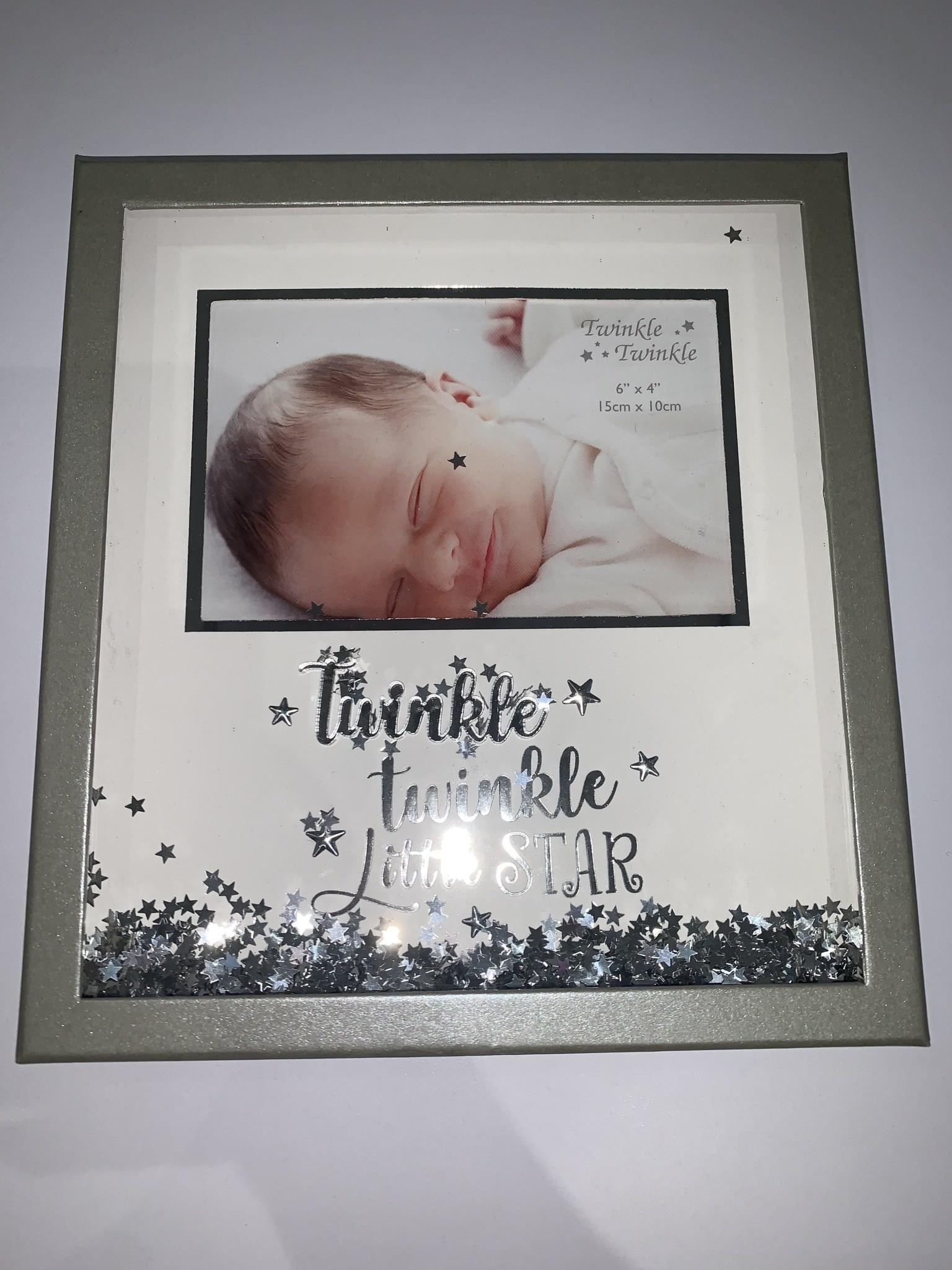 "Twinkle Twinkle Twinkle Twinkle Little Star Silver and White Frame Unisex 6 x 4 """