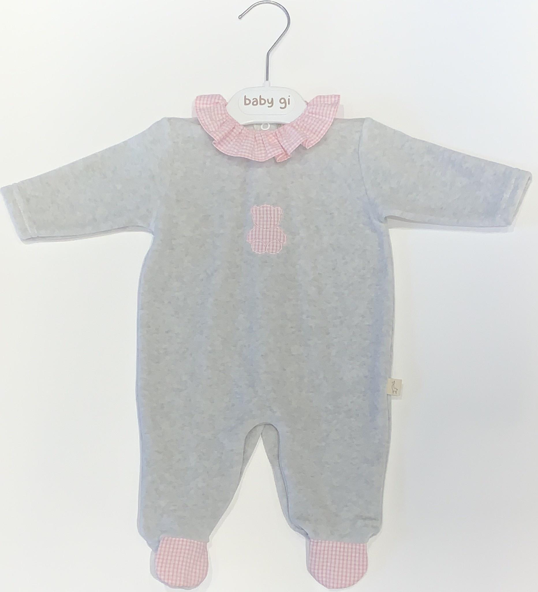 Baby Gi Baby Gi grey and pink teddy baby grow with gingham detail