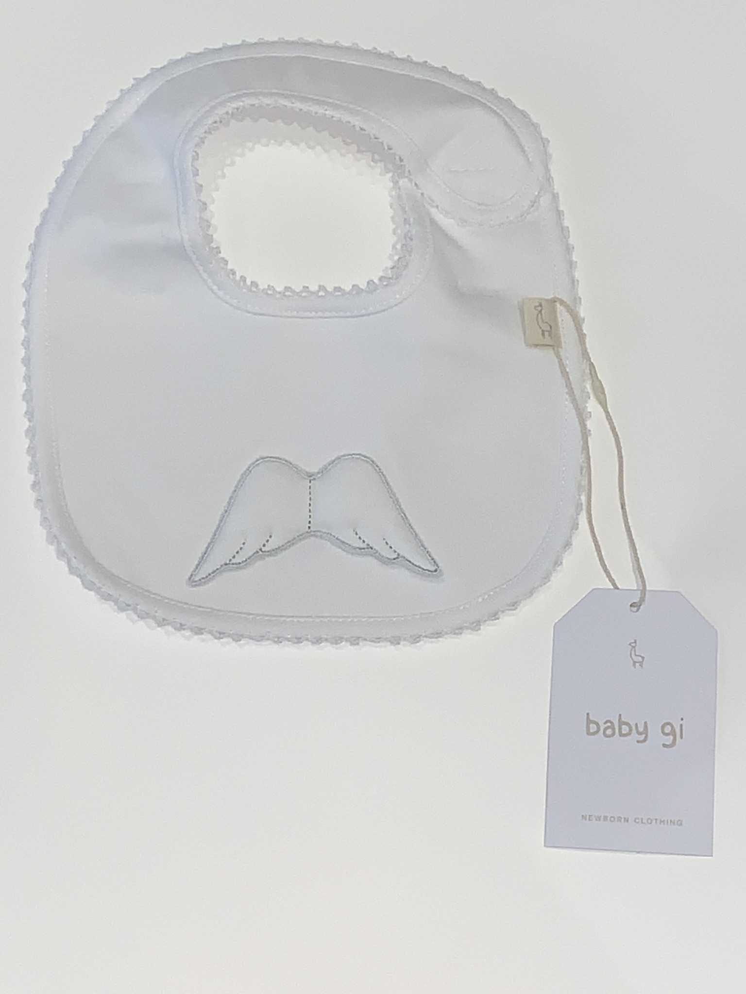 Baby Gi Baby Gi white angel wings bib