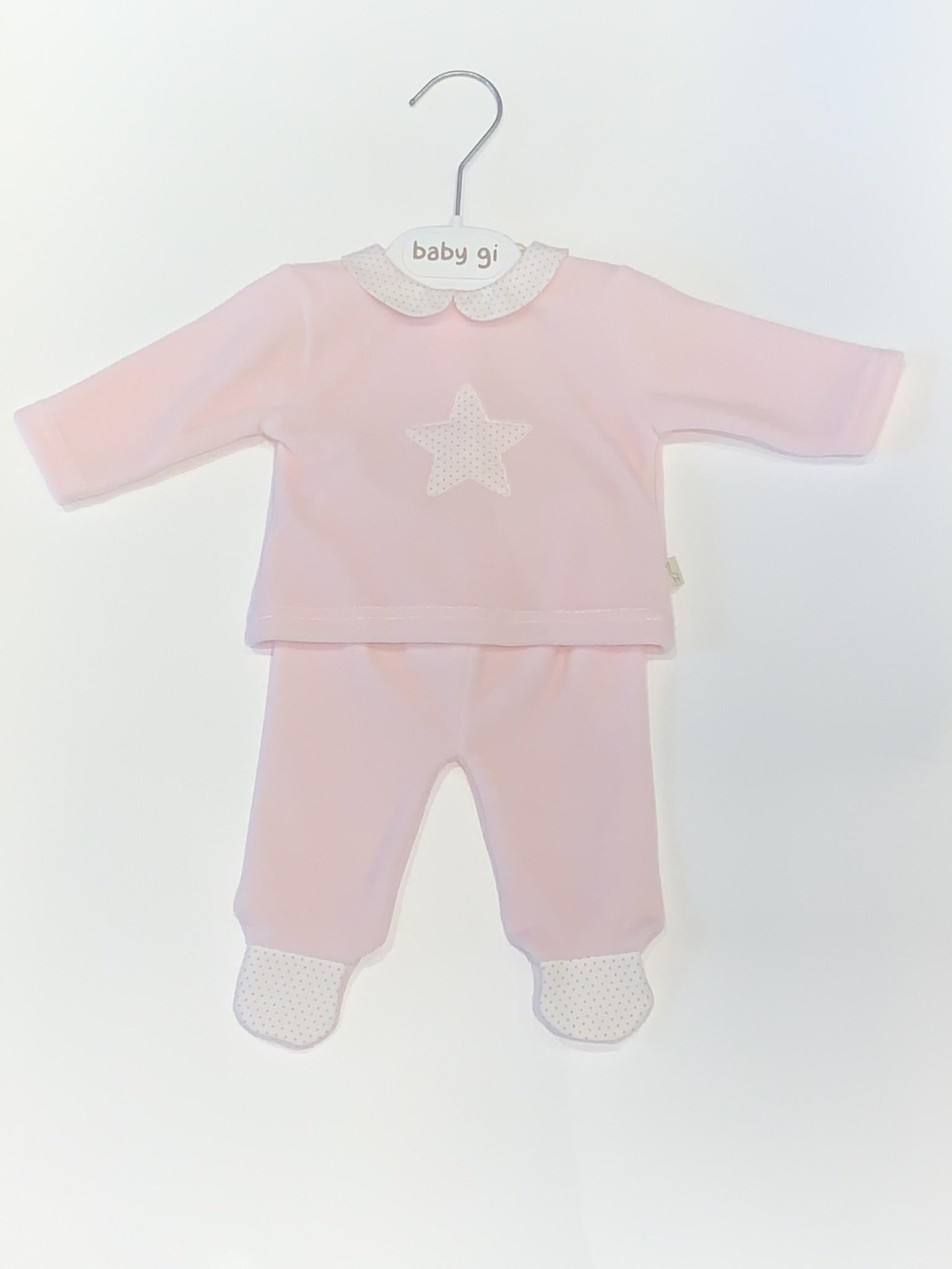 Baby Gi Baby gi pink 2 piece velour star set