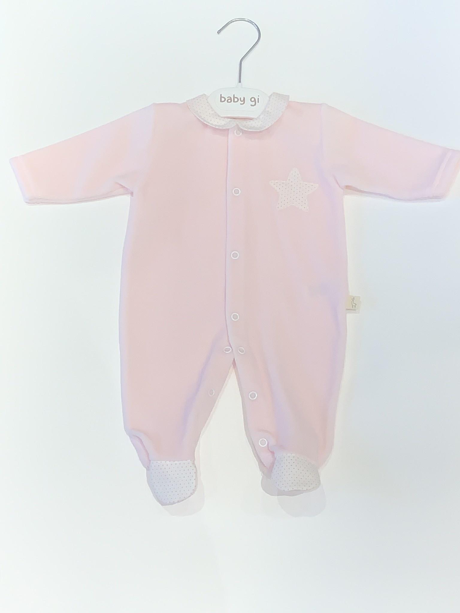Baby Gi Baby gi pink velour star babygrow