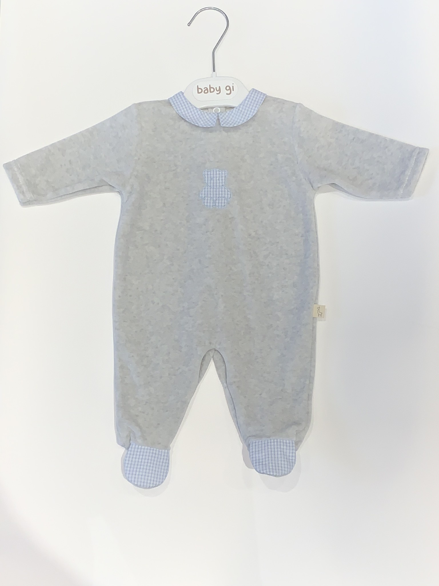 Baby Gi Baby Gi grey and blue teddy baby grow with gingham detail