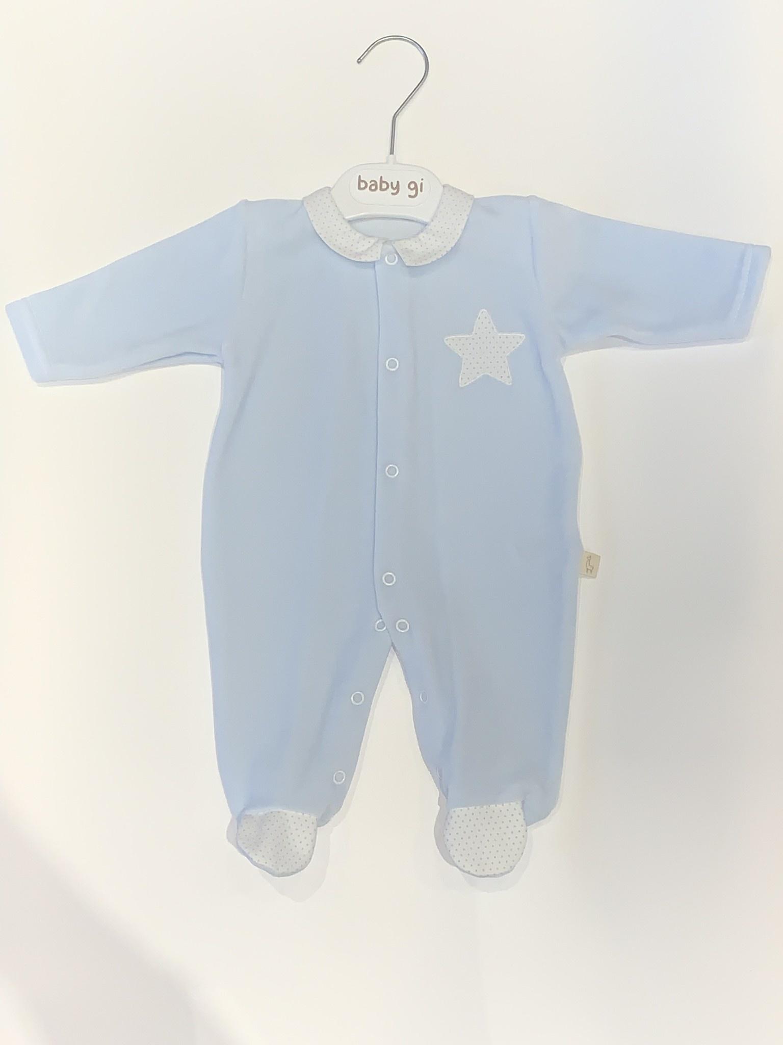 Baby Gi Baby gi blue velour star babygrow