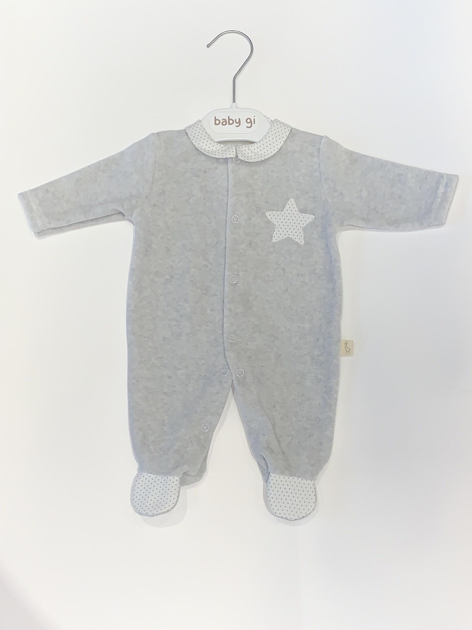 Baby Gi Baby gi grey velour star babygrow