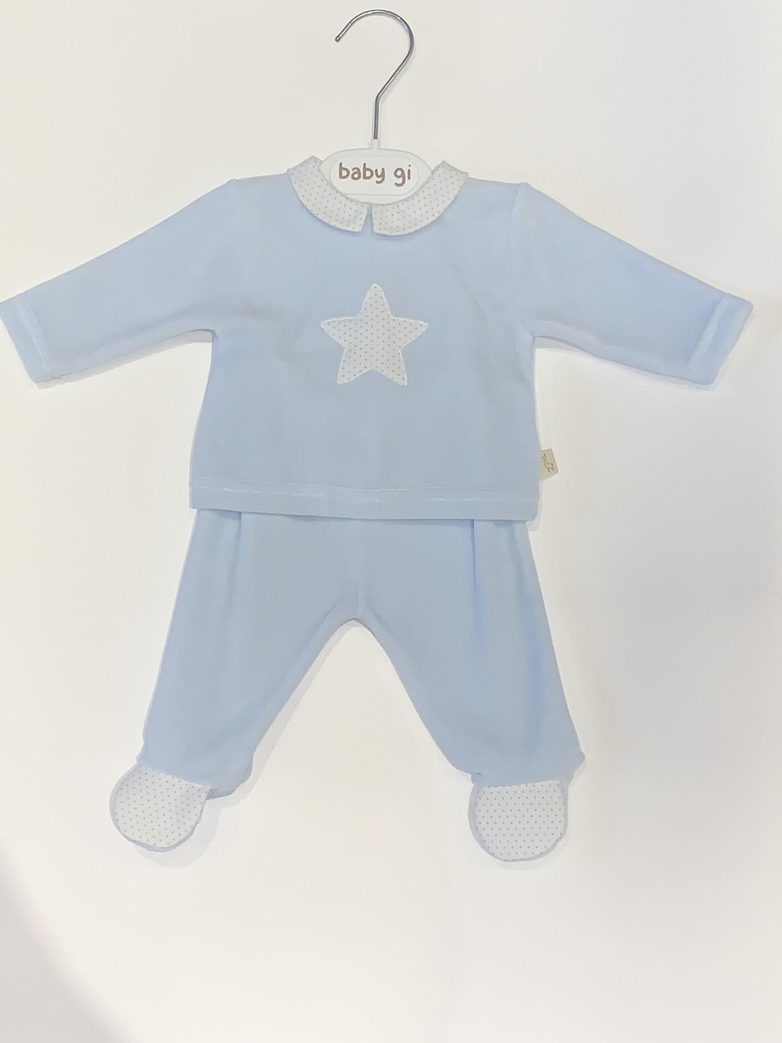 Baby Gi Baby gi blue 2 piece velour star set