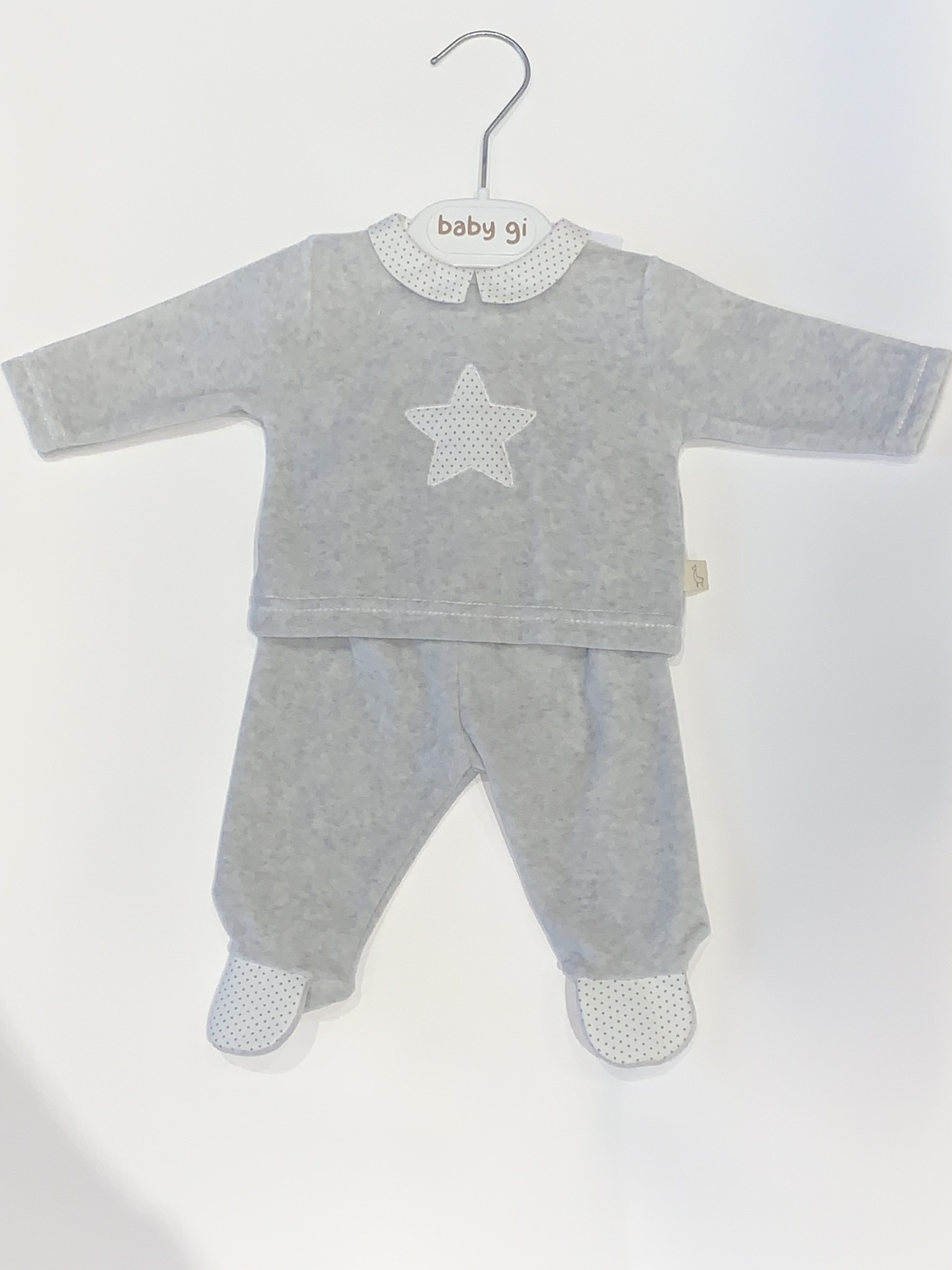 Baby Gi Baby gi grey 2 piece velour star set